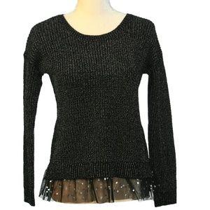 Pink Republic Black Sweater w Tulle Hem Size L